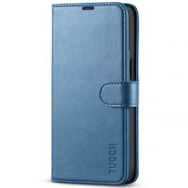 TUCCH iPhone 13 Wallet Case, iPhone 13 Book Folio Flip Kickstand With Magnetic Clasp-Light Blue