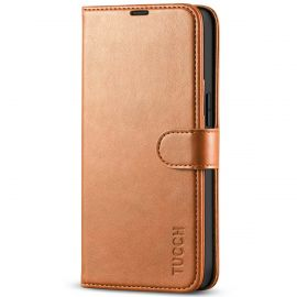 TUCCH iPhone 13 Wallet Case, iPhone 13 Book Folio Flip Kickstand With Magnetic Clasp-Light Brown