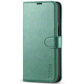 TUCCH iPhone 13 Wallet Case, iPhone 13 Book Folio Flip Kickstand With Magnetic Clasp-Myrtle Green