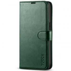 TUCCH iPhone 13 Wallet Case, iPhone 13 Book Folio Flip Kickstand With Magnetic Clasp-Midnight Green