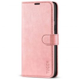 TUCCH iPhone 13 Wallet Case, iPhone 13 Book Folio Flip Kickstand With Magnetic Clasp-Rose Gold