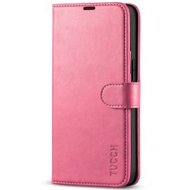 TUCCH iPhone 13 Wallet Case, iPhone 13 Book Folio Flip Kickstand With Magnetic Clasp-Hot Pink