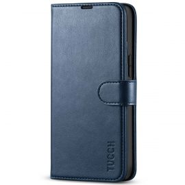 TUCCH iPhone 13 Mini Leather Wallet Case Folio Flip Book Full Protection Cover With Kickstand, Card Slots and Magnetic Clasp-Dark Blue