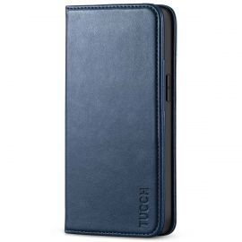 TUCCH iPhone 13 Mini Wallet Case - Mini iPhone 13 5.4-inch PU Leather Cover with Kickstand Folio Flip Book Style, Magnetic Closure-Dark Blue