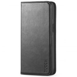 TUCCH iPhone 13 Mini Wallet Case - Mini iPhone 13 5.4-inch PU Leather Cover with Kickstand Folio Flip Book Style, Magnetic Closure-Black