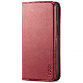TUCCH iPhone 13 Mini Wallet Case - Mini iPhone 13 5.4-inch PU Leather Cover with Kickstand Folio Flip Book Style, Magnetic Closure-Dark Red