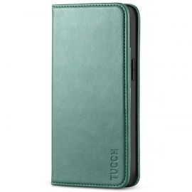 TUCCH iPhone 13 Mini Wallet Case - Mini iPhone 13 5.4-inch PU Leather Cover with Kickstand Folio Flip Book Style, Magnetic Closure-Myrtle Green