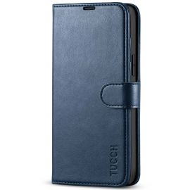 TUCCH iPhone 13 Pro Max Wallet Case, iPhone 13 Max Pro Book Folio Flip Kickstand With Magnetic Clasp-Dark Blue