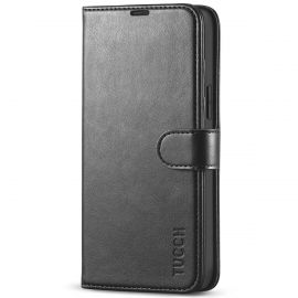 TUCCH iPhone 13 Pro Max Wallet Case, iPhone 13 Max Pro Book Folio Flip Kickstand With Magnetic Clasp-Black