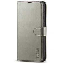 TUCCH iPhone 13 Pro Max Wallet Case, iPhone 13 Max Pro Book Folio Flip Kickstand With Magnetic Clasp-Gray