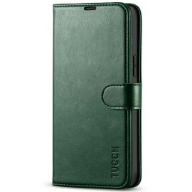 TUCCH iPhone 13 Pro Max Wallet Case, iPhone 13 Max Pro Book Folio Flip Kickstand With Magnetic Clasp-Midnight Green