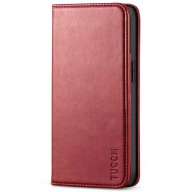 TUCCH iPhone 13 Pro Wallet Case - iPhone 13 Pro Flip Cover With Magnetic Closure-Dark Red