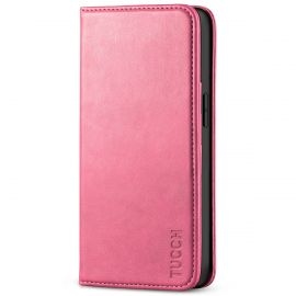TUCCH iPhone 13 Pro Wallet Case - iPhone 13 Pro Flip Cover With Magnetic Closure-Hot Pink