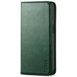 TUCCH iPhone 13 Pro Wallet Case - iPhone 13 Pro Flip Cover With Magnetic Closure-Midnight Green