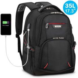 "17.3"" Travel Laptop Men Backpack 35L, Durable, Anti-Theft, Wear-Resistant, USB Charging Port"