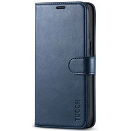 TUCCH iPhone 12 Mini Wallet Case Folio Flip Kickstand With Magnetic Clasp-Dark Blue