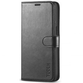 TUCCH iPhone 12 Mini Wallet Case Folio Flip Kickstand With Magnetic Clasp-Black