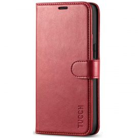 TUCCH iPhone 12 Mini Wallet Case Folio Flip Kickstand With Magnetic Clasp-Dark Red