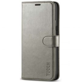 TUCCH iPhone 12 Mini Wallet Case Folio Flip Kickstand With Magnetic Clasp-Gray