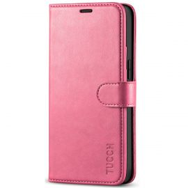 TUCCH iPhone 12 Mini Wallet Case Folio Flip Kickstand With Magnetic Clasp-Hot Pink
