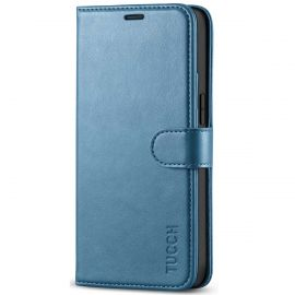 TUCCH iPhone 12 Mini Wallet Case Folio Flip Kickstand With Magnetic Clasp-Lake Blue