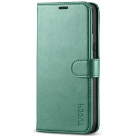 TUCCH iPhone 12 Mini Wallet Case Folio Flip Kickstand With Magnetic Clasp-Myrtle Green