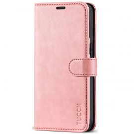 TUCCH iPhone 12 Mini Wallet Case Folio Flip Kickstand With Magnetic Clasp-Rose Gold