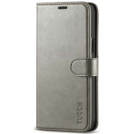 TUCCH iPhone 12 6.1-inch Wallet Case, iPhone 12 Pro Folio Flip Kickstand With Magnetic Clasp-Gray