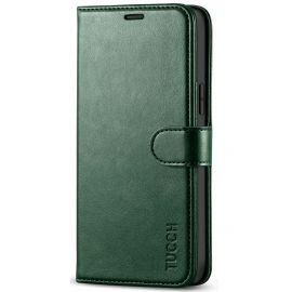 TUCCH iPhone 12 6.1-Inch Wallet Case, iPhone 12 Pro Folio Flip Kickstand With Magnetic Clasp-Midnight Green