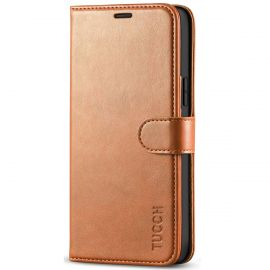 TUCCH iPhone 12 6.1-Inch Wallet Case, iPhone 12 Pro Folio Flip Kickstand With Magnetic Clasp-Light Brown