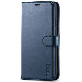 TUCCH iPhone 12 Pro Max 6.7-Inch Wallet Case Folio Flip Kickstand With Magnetic Clasp-Dark Blue