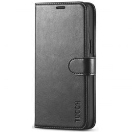TUCCH iPhone 12 Pro Max 6.7-Inch Wallet Case Folio Flip Kickstand With Magnetic Clasp-Black