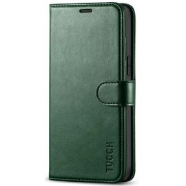 TUCCH iPhone 12 Pro Max 6.7-Inch Wallet Case Folio Flip Kickstand With Magnetic Clasp-Midnight Green