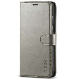 TUCCH iPhone 12 Pro Max 6.7-Inch Wallet Case Folio Flip Kickstand With Magnetic Clasp-Gray