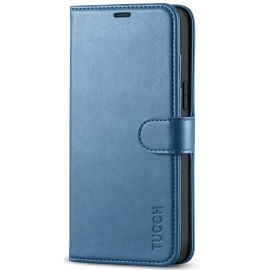 TUCCH iPhone 12 Pro Max 6.7-Inch Wallet Case Folio Flip Kickstand With Magnetic Clasp-Lake Blue