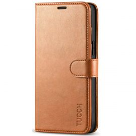 TUCCH iPhone 12 Pro Max 6.7-Inch Wallet Case Folio Flip Kickstand With Magnetic Clasp-Light Brown