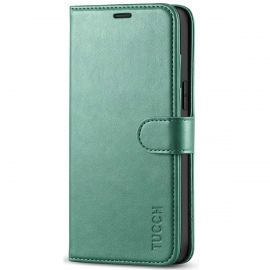 TUCCH iPhone 12 Pro Max 6.7-Inch Wallet Case Folio Flip Kickstand With Magnetic Clasp-Myrtle Green