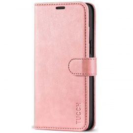 TUCCH iPhone 12 Pro Max 6.7-Inch Wallet Case Folio Flip Kickstand With Magnetic Clasp-Rose Gold
